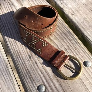 Banana republic genuine leather belt with gold